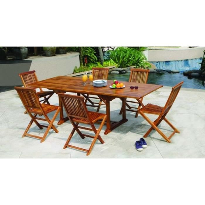 Salon de jardin en teck huilé Table rectangulaire 180-240cm 6 ...