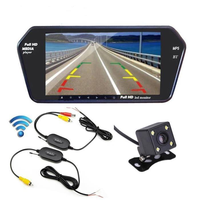 d8a8d1ef8da51a Podofo Système de Rétroviseur Caméra de Recul Mains Libres Bluetooth +  Ultra-mince Moniteur + Émetteur Récepteur + Caméra Arrière