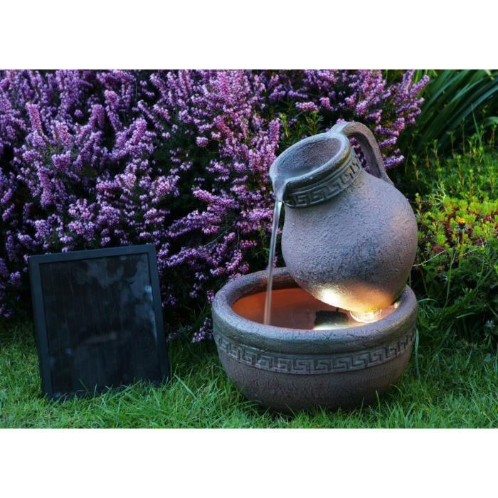 fontaine solaire jarre et bol effet terre cuite avec lumi res achat vente fontaine de. Black Bedroom Furniture Sets. Home Design Ideas