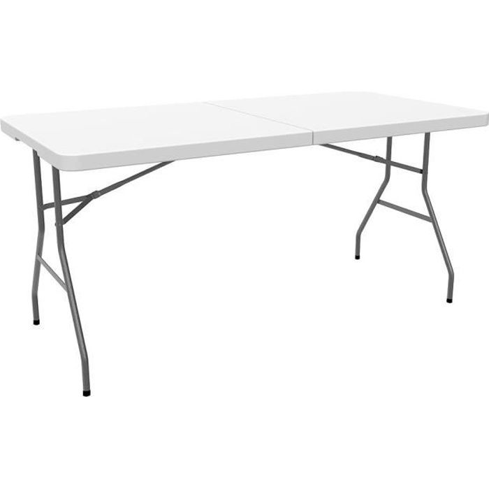 Table en Plastique Robuste, Table Pliante Transportable, 152 x 76 cm ...