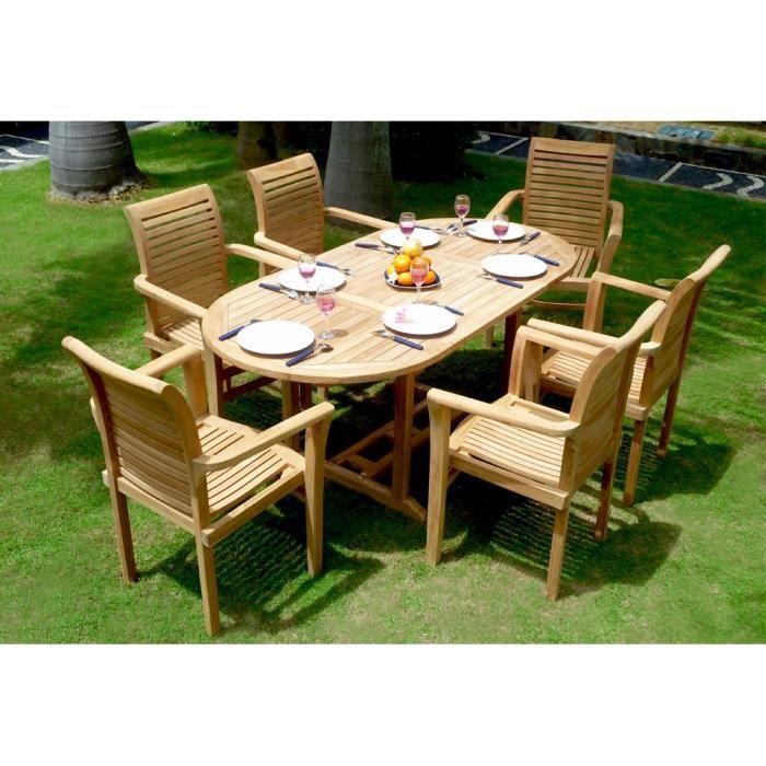 Salon en teck de jardin pour 6 personnes - table 180 cm et ...
