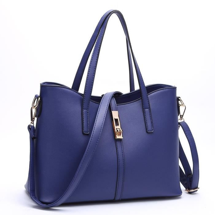 Mode Pu Sac à main en cuir + sac à bandoulière + sac + porte-cartes 4pcs Set Tote doux à chaud J7FKT