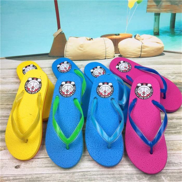 Flip Flops Confortable Flat Slippers Juvénile Femmes Sandales Plage Pantoufles Cartoon Cat Tongs Pour Chaussures D'été Sandales