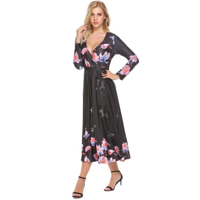 Robe Femmes Casual V-cou à manches longues A Line Sexy