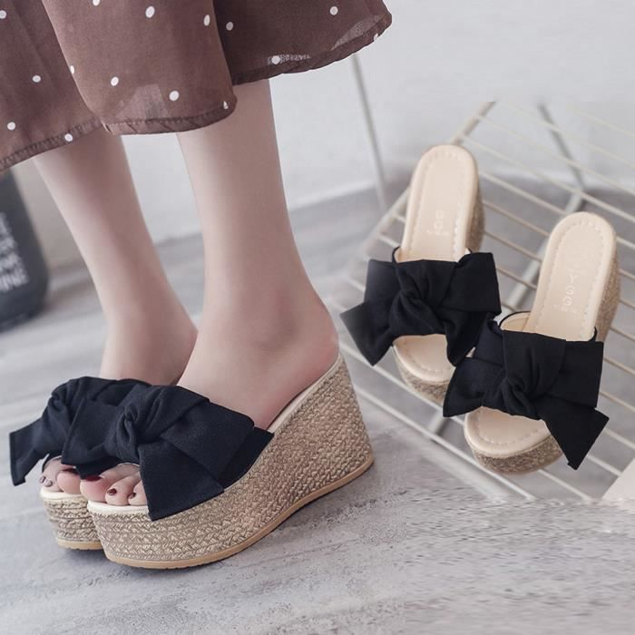 Compensées Plateforme Chaussures Fond Chausson Sandales Plate Massif À Épais Mode Noir Féminine qw46gg