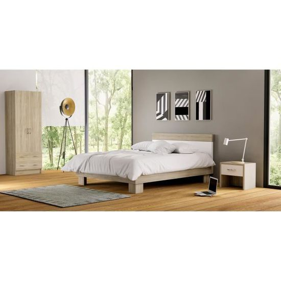 DUAL Armoire chambre adulte classique décor chêne brossé - L 61 cm ...