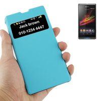 PIÈCE TÉLÉPHONE Housse Étui bleu et transparent pour Sony Xperia Z