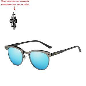 Lunettes de soleil homme polarisées en Métal sunglasses marque de Luxe  Argent Bleu clair 657a99b6be4b