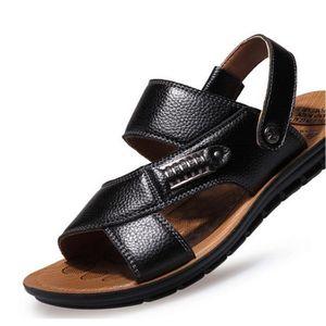 SANDALE - NU-PIEDS Summer Sandals Hommes Sandales en cuir Mens Cas...