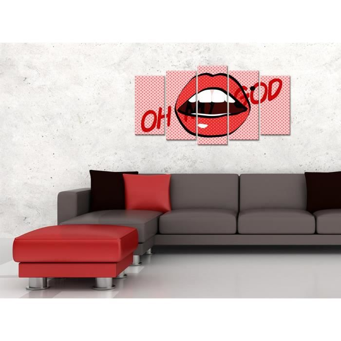 Tableau Déco Bouche Oh My God - 150x80 cm