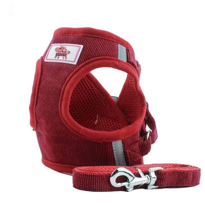 Pet Cat Dog Puppy Corduroy Mesh Vest Leash Chest Straps Belt Adjustable Mo2199