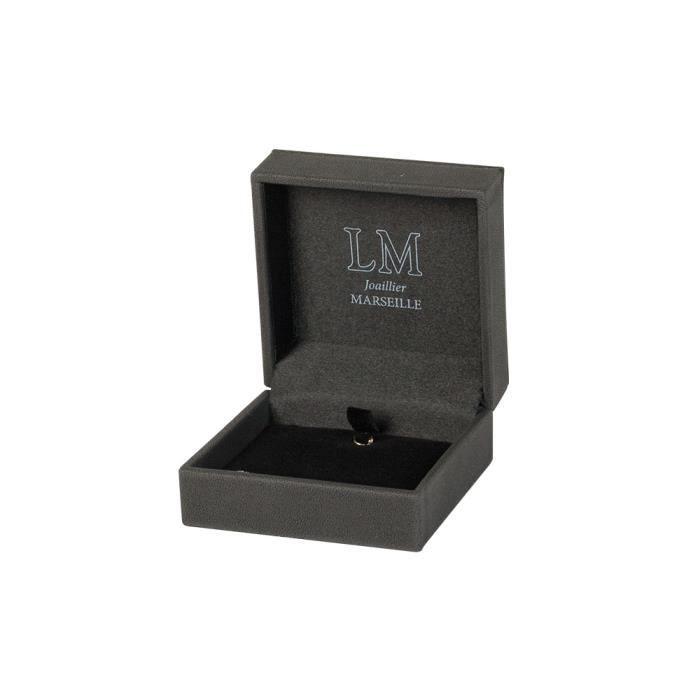 Jouailla - Ecrin boucles doreilles-pendentif avec crochetgainé synthétique noir aspect chevreau-surpiqûres écrues