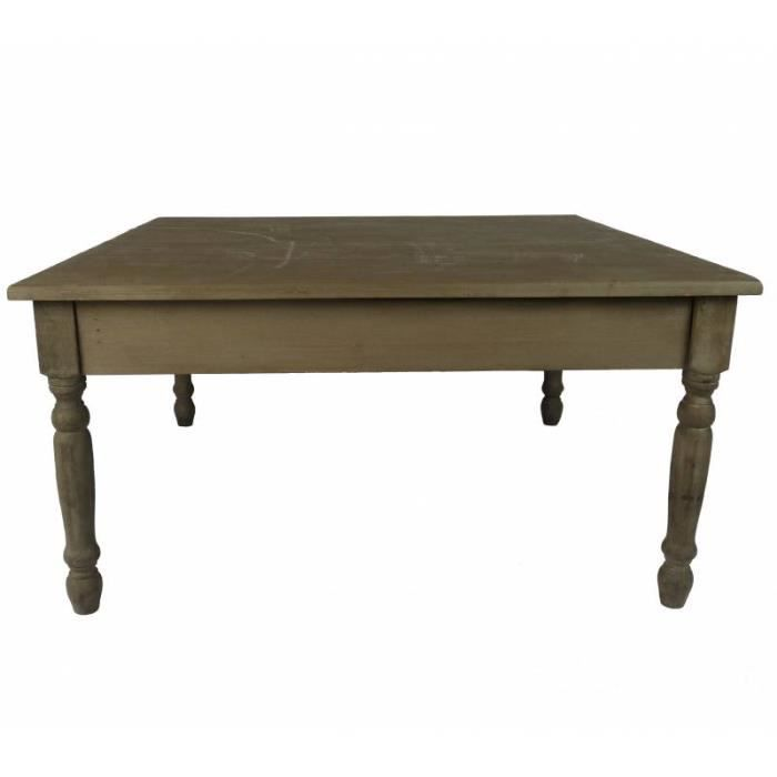 b7b0d998012a4 Grande Table Basse Console de Salon Bout de Canapé Desserte d Appoint Forme  Carrée en Bois Patiné Marron 45x90x90cm