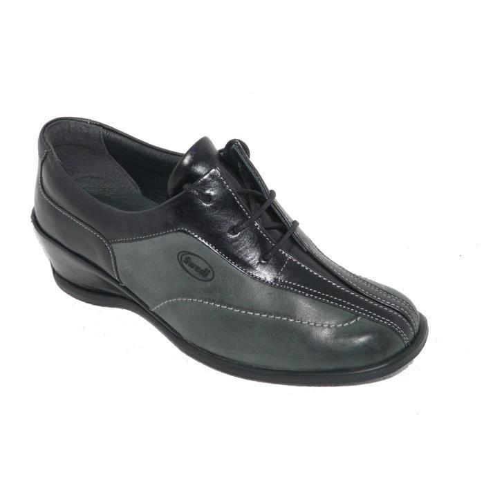 bcda77e3c45f4a Chaussures femme derbies CUIR gris lacets confort. Gris - Achat ...