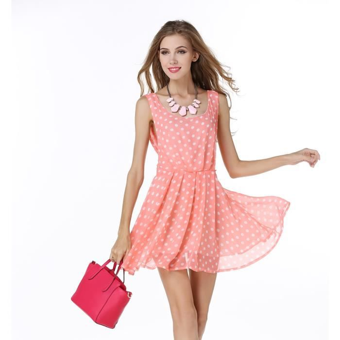 24cd9f18b1d Petite Robe d été Fleurie Rose Courte Pas Cher Rose - Achat   Vente ...