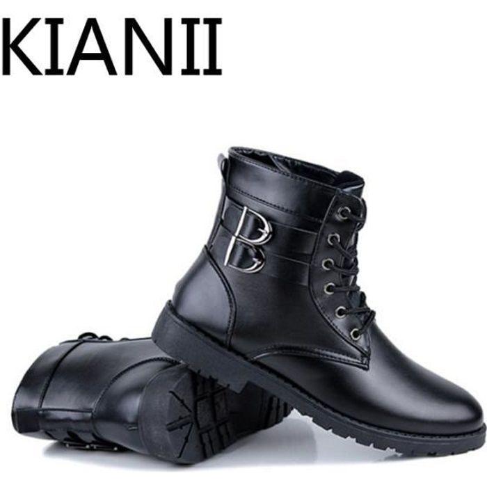 Mode Bottines Martine Boots en PU-Cuir Chaussures Homme
