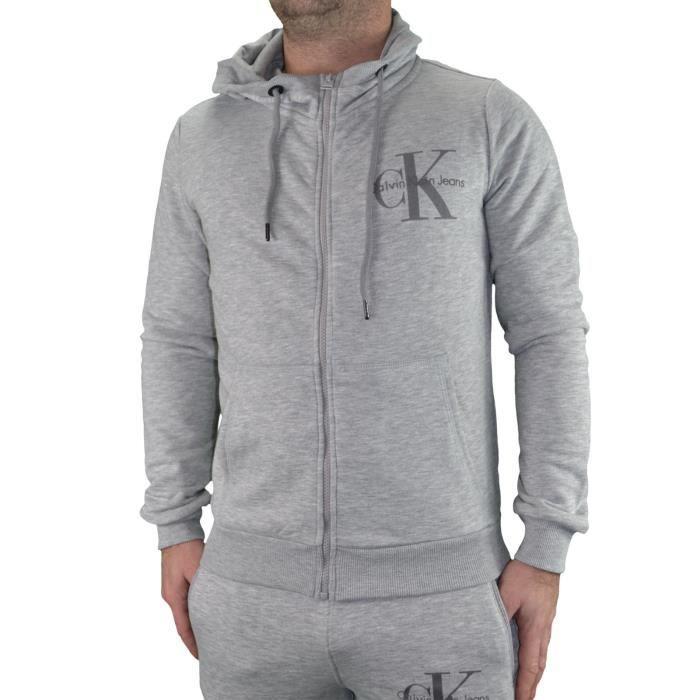 Calvin Klein - Veste à Capuche - Homme - Ck Hoodie - Gris Clair Gris ... 72382bbf9e3
