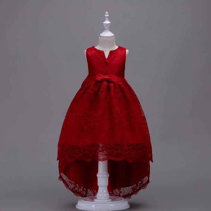 OUTAKING 2018 Nouvelle Robe de Fille Robe de queue en dentelle Sans Manche Avec Broderie Robe de Mariee Comme Princesse Pour 2-13 an