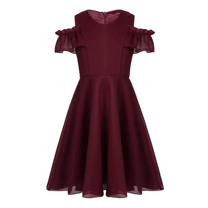 7a1b6c84856d0 Robe de soirée ceremonie Enfant Fille Court robe d été col Rond ...