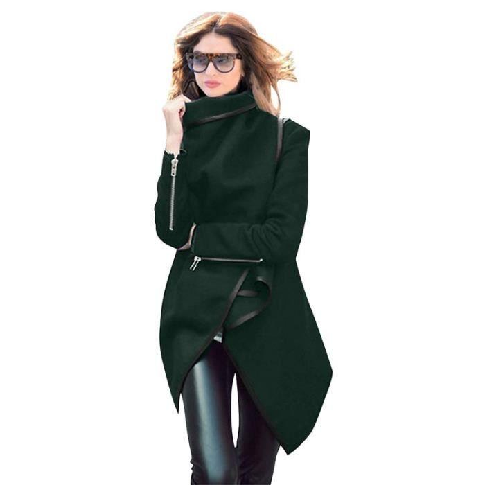 Femme Revers Col Trench Coat Longue Irrégulière Manteaux en Laine Mélangée Parkas Hiver Vert M