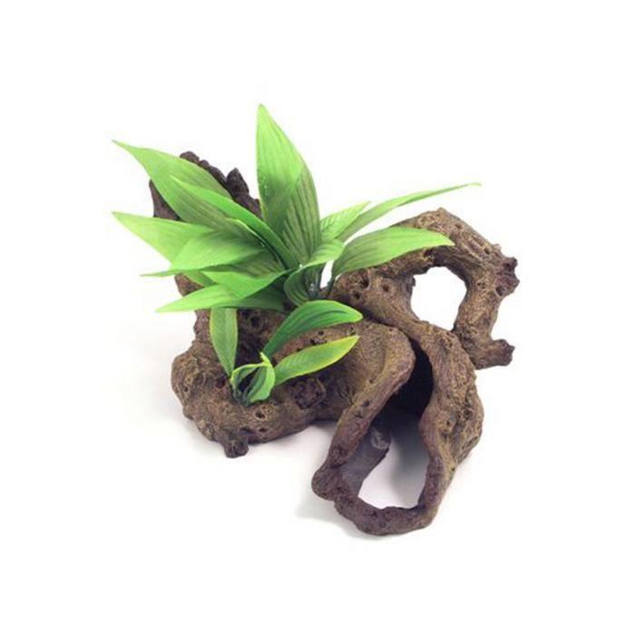 Rosewood - Bois Et Plante En Résine Aquarium Mixte Marron/vert L