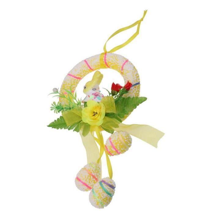 Paques Bulle Emulation Oeuf Ornement Lapin Suspendu Parti Maison Cadeau  Paques Mousse Couronne (jaune)