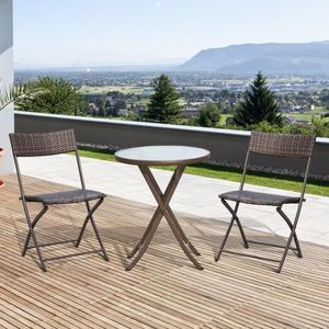 Salon de jardin table ronde en verre achat vente pas cher - Table ronde salon de jardin ...