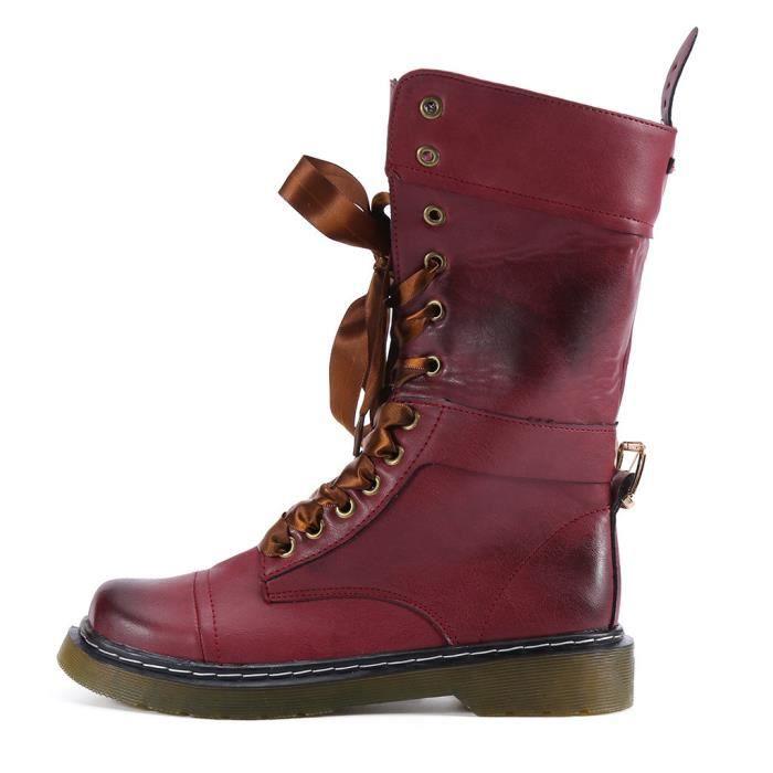 Plats Femmes Talons Boot Chaussures Rond Cuir À En Lacets Rétro 4432 Veberge slip Bout Non Moyen rgtIxqwt