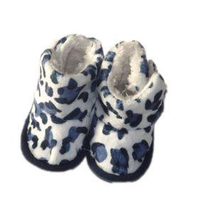 BOTTINE Bottes bébé souples et fourrées, léopard bleu.