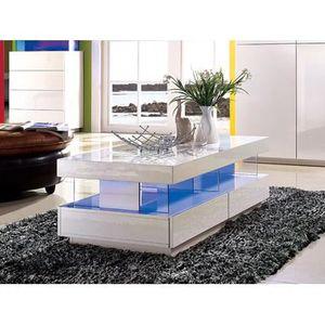 TABLE BASSE Table basse FABIO - MDF laqué blanc - LEDs - 2 tir