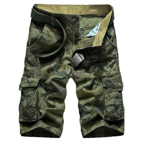 71d11627dd549 Homme Militaire Cargo Shorts Vintage Bermudas Pantacourt Camo 100% Coton  Multi Poches Avec Ceinture Vert foncé - Achat / Vente bermuda - Cdiscount