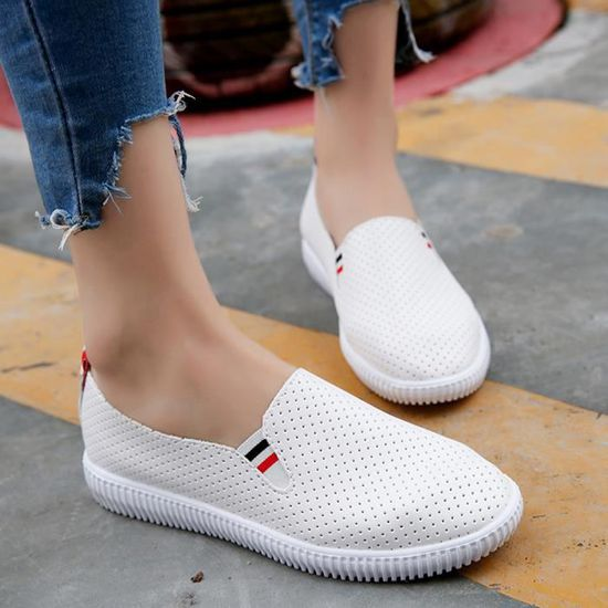 Mesdames Femmes évider Chaussures ronde plate-forme Toe plat  Slip talon Chaussures Casual  plat blanc Blanc Blanc - Achat / Vente slip-on 12d2ee