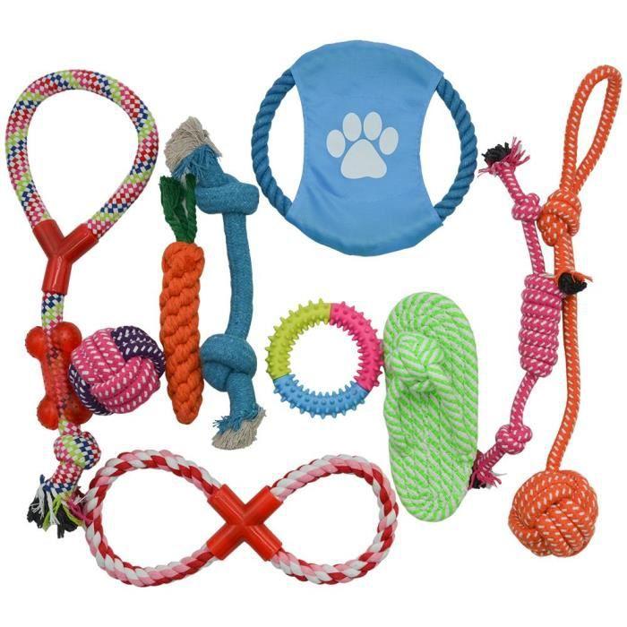 Chien Jouets Pour Animaux 10 Set Paquet Corde Coton Chiot Durable Chew Toy Teething Les Petites Et Moyennes Chiens 1f41t