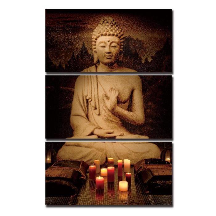 Sans Cadre 3 Pcs Zen Bouddha Méditation Toile Peinture Décoration De