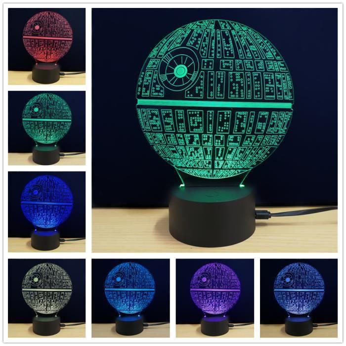 3D LED USB Lumi¨re De Nuit Lampe De Chevet Avec 7 Couleurs Chambre