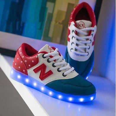 Chaussures chaussures colorées fluorescentes chaussures de recharge USB lumineux LED, rouge 37