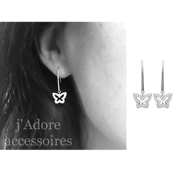Boucle d oreille papillon pendant argent achat vente boucle d 39 oreille boucle d oreille - Fermoir boucle d oreille argent ...