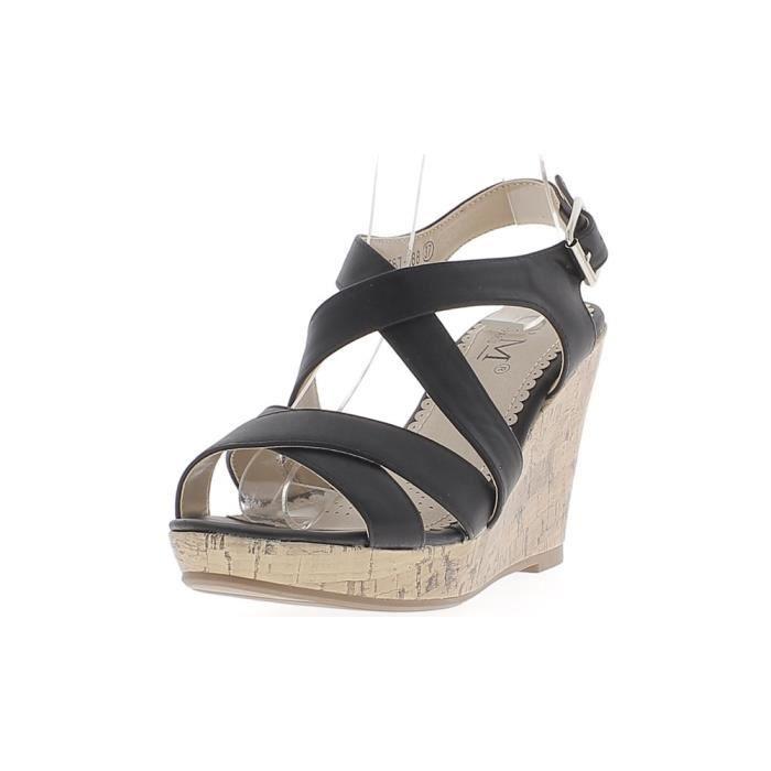 735d2a3eff2436 SANDALE - NU-PIEDS Sandales compensées noires à talons de 10cm avec p