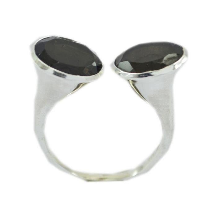 anneau de fumée de quartz - anneau brun - bague en argent - anneau dargent brun