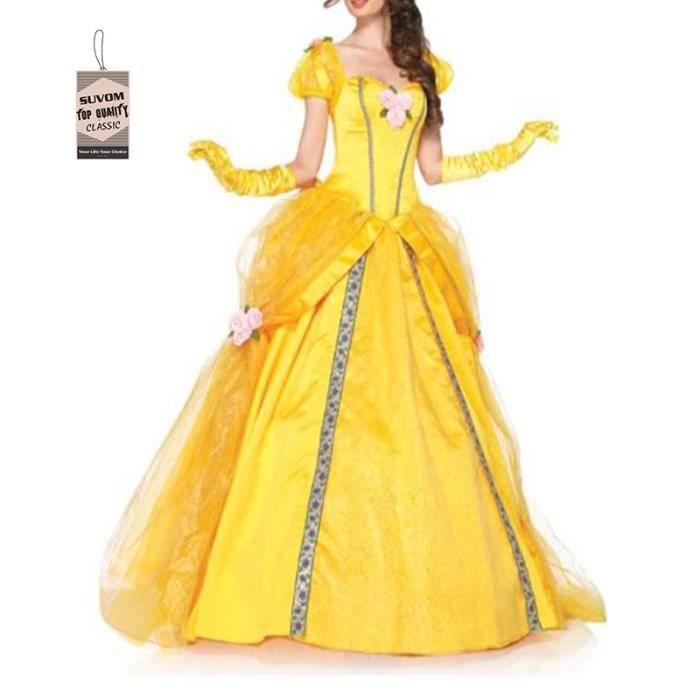 Bien-aimée Robe Belle Princesse pour Adultes Costume Jaune XXL Jaune Jaune &VX_37