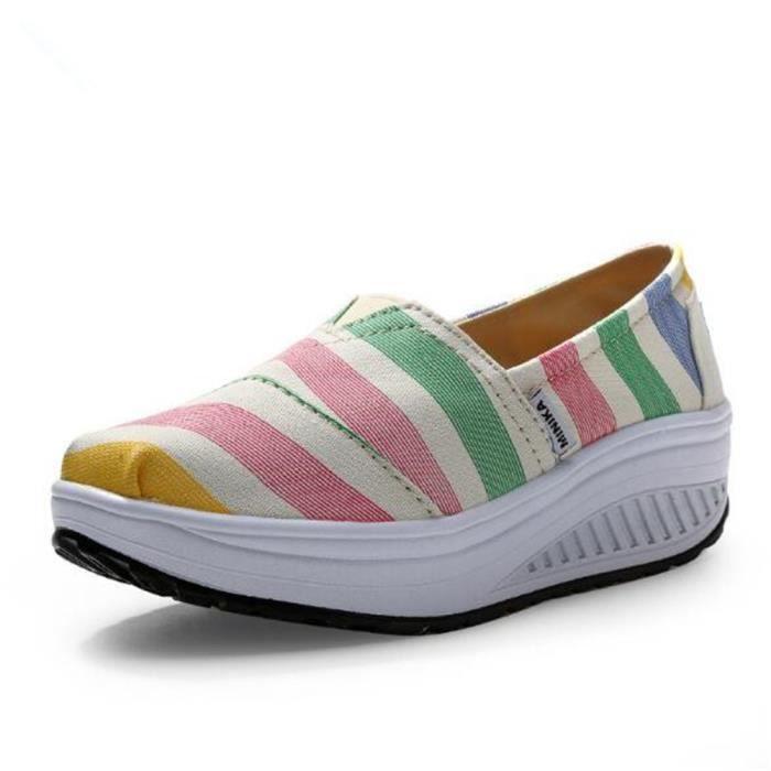 chaussure femmes Nouvelle Mode Moccasin plates à fond épais Marque De Luxe Loafer femme hauteur croissante Grande Taille 35 9lCSaDC2I