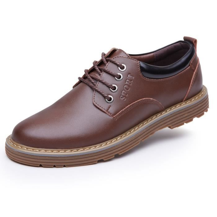 JOZSI Chaussures Hommes Cuir Respirant mode Homme chaussure de ville HZ-XZ200Rouge38