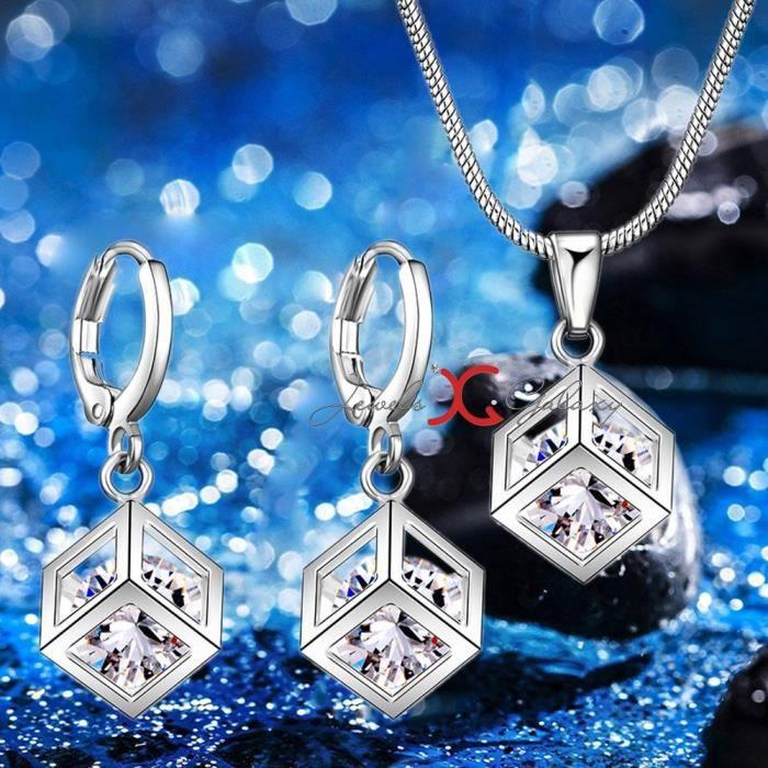 Womens Crystal Elets Cube Designer Sparkling Luxuria Platinum Plated Stunning Pendant Set For Wedd U348O