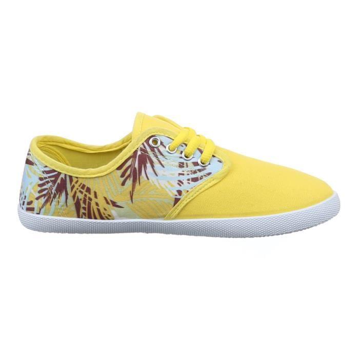 Chaussures femmes sneakers Derbies jaune yBtAV