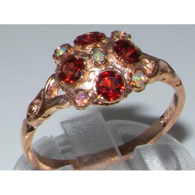 Bague pour Femme en Or rose 9 carats 375-1000 sertie d Opale Grenat- Tailles 50 à 64