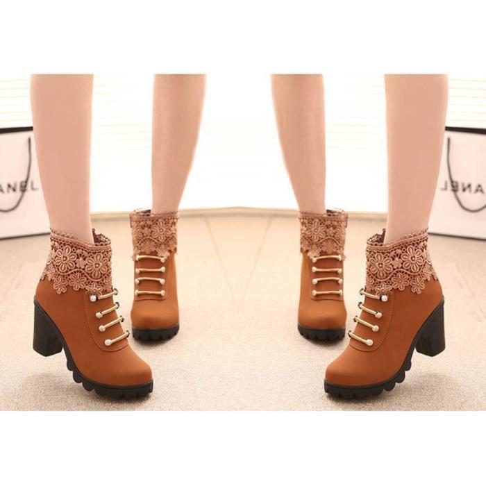 Cheville Pour Talon Mode Martin Épais Bottes Courtes Haute Boots Chaussures Élégant Mode Minetom Femmes Hiver Automne Dentelle YqapTp
