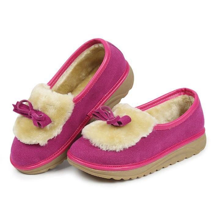 deuxsuns®Femmes Chaud Appartements Chaussures Neige Femmes Automne Hiver Bowknot Chaussures Bottes