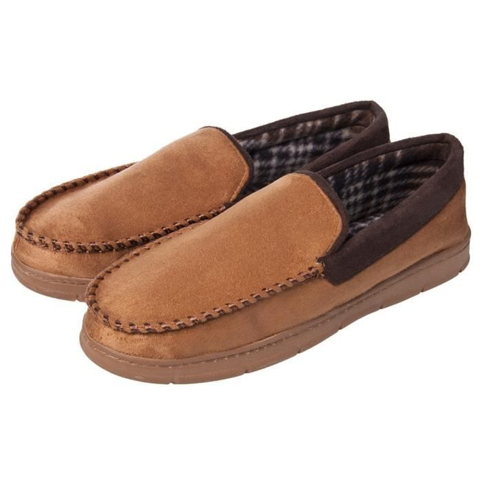 Soft Warm Indoor Outdoor Anti-slip Microsuede Moccasins Flats Slippers Shoes OXLJ9 Taille-47