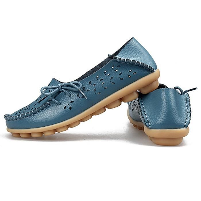 Leather Moccasins Loafers Driving Casual Shoes Indoor Flat Slip-on Slippers KT5BK Taille-38