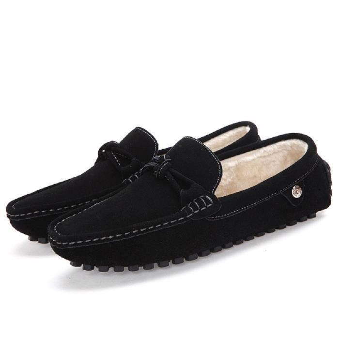 Suede en fausse fourrure Pantoufles Glissement Mocassins Mocassins Chaussures plates Y93EP Taille-38 1-2